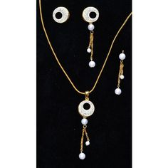 CZ studded gold plated pendent set with white pearls latkan - Online Shopping for Necklaces by Ami Designs