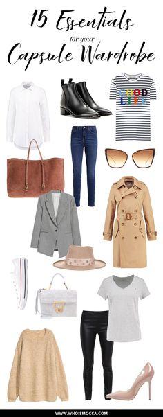 How to create a Capsule Wardrobe! Kleiderschrank-Basics: 15 Must-Haves und Wardrobe Key-Pieces, die in keinem Schrank fehlen sollten. Streifenshirt, weiße Bluse, Ankle Boots, die XL-Sonnenbrille und Co. Alles Must-Haves und eine perfekte Ausgangsbasis um sie mit aktuellen Trendteilen zu kombinieren. Mehr auf meinem Fashion Blog www.whoismocca.com