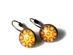 Primrose Yellow Leverback Earrings Mandala by BluKatDesign on Etsy