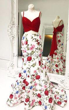 Floral Printed Sweep Train 2 Piece 51710 Mermaid Prom Dress