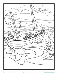 Paul's Shipwreck Bible Coloring Page