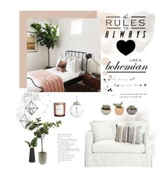 """""""Bohemian dreams"""" by anna-lena-als ❤ liked on Polyvore featuring interior, interiors, interior design, home, home decor, interior decorating, Frontgate, Arteriors, H&M and Crate and Barrel"""
