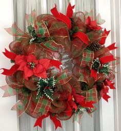 Traditional Red Green Natural Deco Mesh Wreath order by www.southerncharmwreaths.com