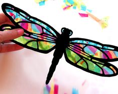 Kids Craft Butterfly and Dragonfly Stained Glass Suncatcher Kit with Birds, Bees, Using Tissue paper, Arts and Crafts Kids Activity, project Dragonfly Stained Glass, Dragonfly Art, Stained Glass Crafts, Butterfly Art, Easy Crafts For Kids, Easy Diy Crafts, Art For Kids, Dragon Fly Craft, Paper Fish