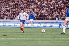 Italy 2 France 1 in 1978 at Mar Del Plata. Bernard Lacombe comes onto the ball in midfield in Group A at the World Cup Finals. World Cup Final, France 1, Finals, Soccer, Sports, Image, Group, Mar Del Plata, Italy