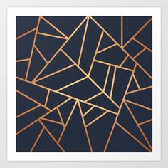 Copper and Midnight Navy Art Print by Elisabeth Fredriksson. Worldwide shipping available at Society6.com. Just one of millions of high quality products available.