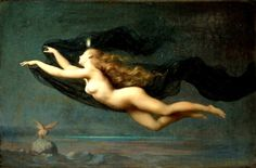 """Night by Auguste Raynaud (1854-1937)    In Greek mythology, Nyx (""""night"""", Nox in Roman translation) was the primordial goddess of the night. A shadowy figure, Nyx stood at or near the beginning of creation, and was the mother of personified gods such as Hypnos (sleep) and Thánatos (death). Her appearances in mythology are sparse, but reveal her as a figure of exceptional power and beauty."""