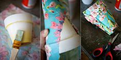 Fabric-covered flower pots made with mod podge Diy Flowers, Fabric Flowers, Flower Pots, Mod Podge Fabric, Fancy Pens, Terracotta Pots, Clay Pots, Decorating On A Budget, Floral Fabric