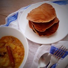 Cinnamon pancakes with tutti-frutti compote. A delicious way to use up leftover fruit salad :) @ mytinygreenkitchen.com