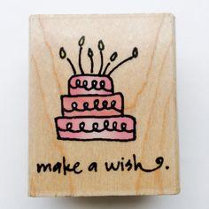 Birthday stamp, make a wish stamp, rubber stamp, cake stamp