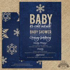 Baby Shower Invitation Baby it's Cold Outside Shower Navy Silver Glitter - FREE Backside!  sparkle, glitzy, shimmer invite, modern classy winter shower theme. Printable.  - by Lemonade Design Studio