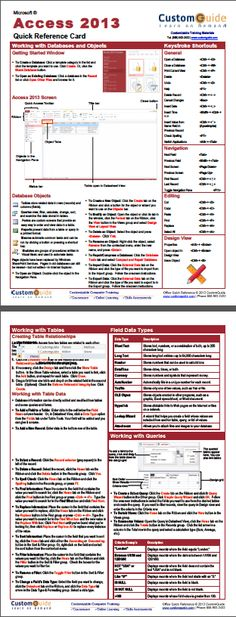 Free 2013 Quick Reference http://www.customguide.com/cheat_sheets/access-2013-cheat-sheet.pdf