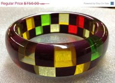 Shultz Bakelite Two Row Checkerboard Bangle by CrowsNestAntiques on Etsy, $600.00