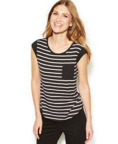 3905cfd77c9f5 Calvin Klein Short-Sleeve Striped Top & Reviews - Tops - Women - Macy's