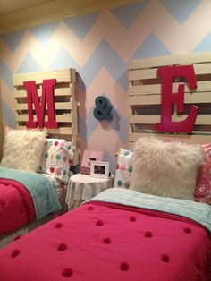 My FIRST ever DIY project, in my girls room. Headboards made from pallets, letters purchased from Hobby Lobby & painted. Measured off the chevron wall and painted it. Girls love it! Price was right! Looking for ideas for my master bedroom & bath now!