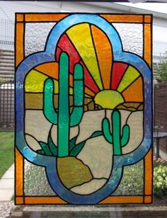 Art Deco Cactus Scene Static Window Cling