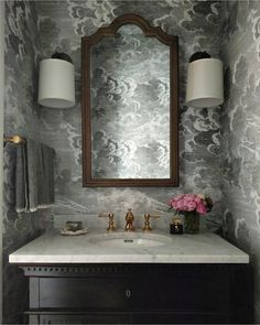 Storm Wallpaper, Cole And Son, Jenna Sue, Bathroom Renos, Bathroom Ideas, Downstairs Loo, Kitchen Wallpaper, Wainscoting, Guest Bath
