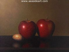 Red Delicious an oil painting by Clifford Bailey. The art measures 7″ x  9″ and the  frame is 11″ x 13″, frame included