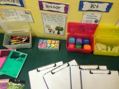 Miss Lynch's Class Writing Table Writing Area Writing Station, Writing Area, Writing Table, Year 4 Classroom, Classroom Ideas, Tuff Tray, Letter Activities, Eyfs, Blue Butterfly