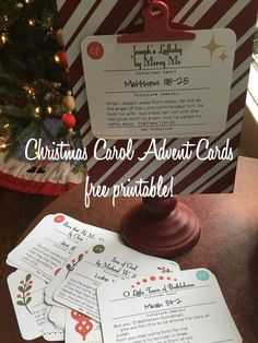 Christmas Carol Advent cards - Free Printables