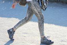 studded with acid wash skinny jeans!