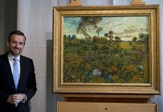 """Van Gogh Museum director Axel Rueger next to """"Sunset at Montmajour,"""" after unveiling the painting by Dutch painter Vincent van Gogh during a press conference at the museum in Amsterdam. Van Gogh Museum, Bizarre News, Van Gogh Paintings, Found Art, Dutch Artists, The Masterpiece, Weird Pictures, Vincent Van Gogh, Weird Facts"""