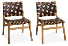 Winslow Leather Side Chairs, Pair