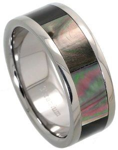 9mm Flat Titanium Wedding Band 2 Stripes Beveled Edge Matte Finish