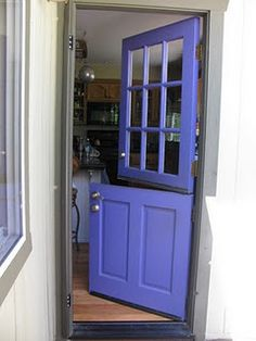 dutch door in periwinkle blue. That's the same color I painted my kitchen's Dutch door! Periwinkle Blue, Purple, Lilac, Lavender, Front Door Colors, Back Doors, Cottage Homes, My Favorite Color, My Dream Home