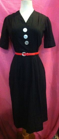 50s Black Wiggle Dress 1950s by Flipsville on Etsy