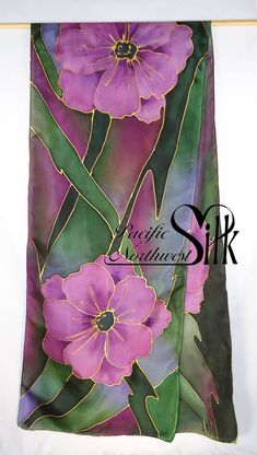 Hand Painted Lavender and Deep Green Silk Scarf by Pacific Northwest Silk