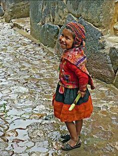 Ollantaytambo, Peru. Cute girl