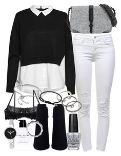 """""""Untitled #19021"""" by florencia95 ❤ liked on Polyvore featuring J Brand, French Connection, rag & bone, Monica Vinader, OPI, Bobbi Brown Cosmetics, Forever 21, David Yurman, Chanel and Christian Van Sant"""