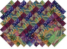 "BATIK VARIETY #14 COLLECTION 40 Precut 5"" QUILTING FABRIC SQUARES #MDG"