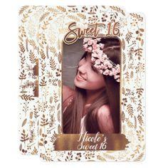 Bronze Copper Foil Modern Sweet 16 Birthday Photo Card - birthday gifts party celebration custom gift ideas diy