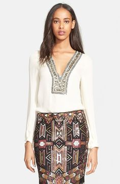 Haute Hippie Chevron Embellished V-Neck Silk Blouse available at #Nordstrom