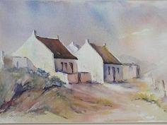 """Cape Dutch Cottages"" by Robyn Roberts Cape Dutch, Dutch House, Little Cottages, White Building, Dark Backgrounds, Beautiful Paintings, Decoration, The Darkest, Canvas Art"