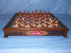 "FRANKLIN MINT 96 NEW ""COCA-COLA"" CHESS set/24K GOLD STAINED GLASS w/ COA"