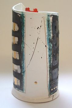 Cylinder vessel with red lugs 2005 © Linda Styles Ceramics