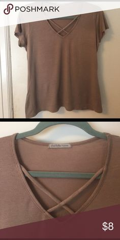 Criss Cross V neck Soft, tan, comfortable, cross cross straps in front Charlotte Russe Tops Tees - Short Sleeve
