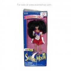 Sailor Moon Doll 6 inch Sailor Mars Doll In Box Bandai America D Sailor Moon Toys, Sailor Mars, Price Sticker, Dolls For Sale, Blue Box, 6 Inches, America, Usa