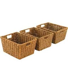 Set of 3 Seagrass Storage Baskets - Natural.
