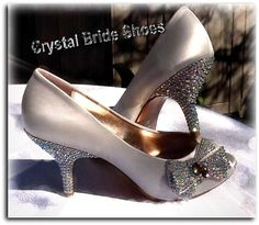 Schuh Forest Side Bow Heels in Ivory or Silver CUSTOMISED Sizes 3-7 New With Box