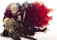 Hetalia- Denmark and Norway. I really adore this pictures of how protective Den is over injured Nor.
