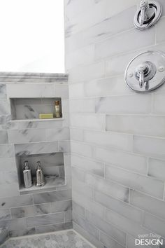 Marble Shower Niche in shower entry pony wall Deeply Southern Home Bathroom Niche, Shower Niche, Bathroom Renos, Shower Floor, Basement Bathroom, Bathroom Ideas, Concrete Bathroom, Shower Tiles, Bathroom Faucets