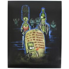 Celebrate The Simpsons with this hilarious art print! This print features a fun mash-up of The Simpsons and the cult-classic zombie film Return of the Living Dead. A Horror Block exclusive. Arte Horror, Horror Art, Horror Pics, Funny Horror, Simpsons Treehouse Of Horror, Zombie Art, Naruto Anime, Creepy Art, Scary