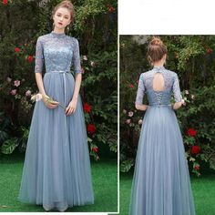 Affordable Sky Blue See-through Bridesmaid Dresses 2019 A-Line / Princess Sleeves Sash Appliques Lace Floor-Length / Long Ruffle Wedding Party Dresses Affordable Sky Blue See-through Bridesmaid Dresses 2019 A-Line / Princess Sleeves Sash Applique Bridesmaid Dresses With Sleeves, Bridesmaid Dress Colors, Wedding Dress Sleeves, Blue Dress With Sleeves, Gold Wedding Gowns, Fall Wedding Dresses, Wedding Bridesmaid Dresses, Simple Dresses, Nice Dresses