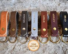 Personalized leather key fob - monogrammed key fob with your initials, name, date, and more! USA Made and ships quickly. Swatch, Best Wedding Gifts, Gift Wedding, Great Gifts For Men, Name Gifts, Guy Gifts, Leather Keychain, Custom Leather, Handmade Leather