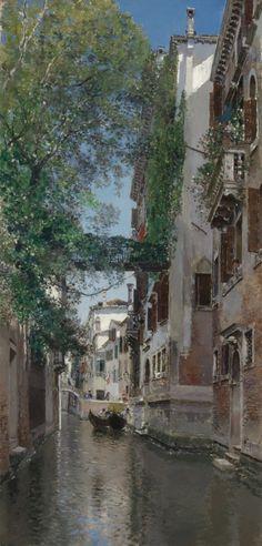 A venetian canal.scene.  Oil on Canvas.  80 x 38.5 cm.    Art by Martín Rico y Ortega.(1833-1908).