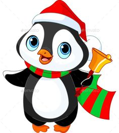Clipart of a Cute Christmas Penguin Ringing a Charity Bell - Royalty Free Vector Illustration by Pushkin Penguin Images, Penguin Pictures, Pinguin Illustration, Free Vector Illustration, Penguin Drawing, Penguin Cartoon, Cute Disney Drawings, Art Drawings For Kids, Merry Christmas Coloring Pages